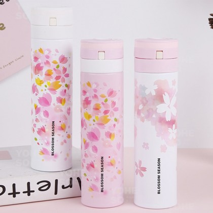 YOHESO 304 Stainless Steel Blossom Season Floral Double Vacuum 450 ML Thermal Flask 001